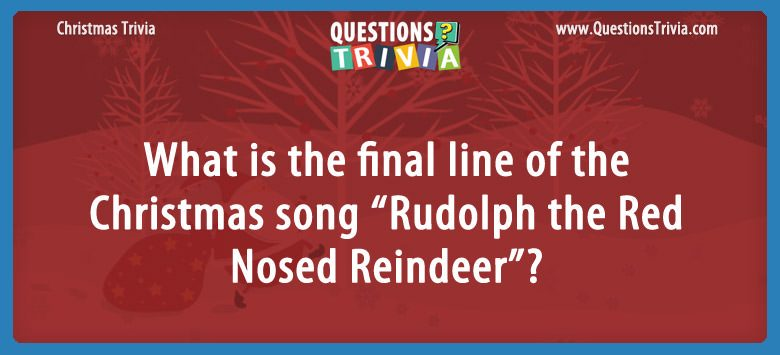 Christmas Trivia Questions Card Rudolph the Red Nosed Reindeer