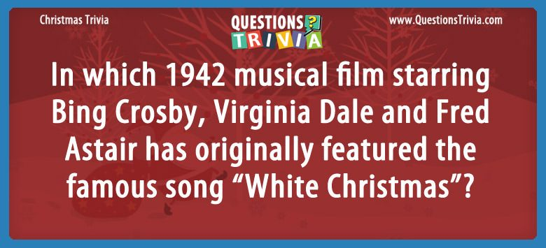 Christmas Trivia Questions Card musical song White Christmas