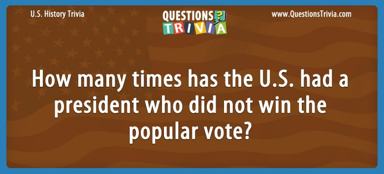 How many times has the u.s. had a president who did not win the popular vote?