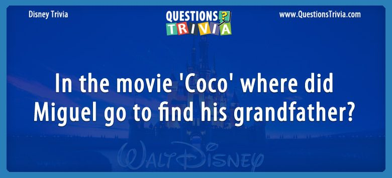 In the movie 'coco,' where did miguel go to find his grandfather?