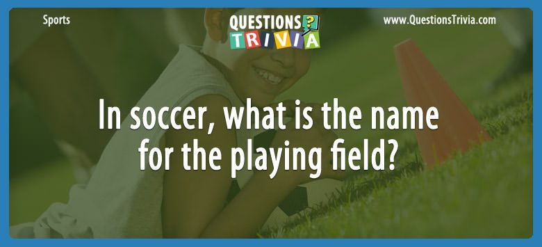 In soccer, what is the name for the playing field?