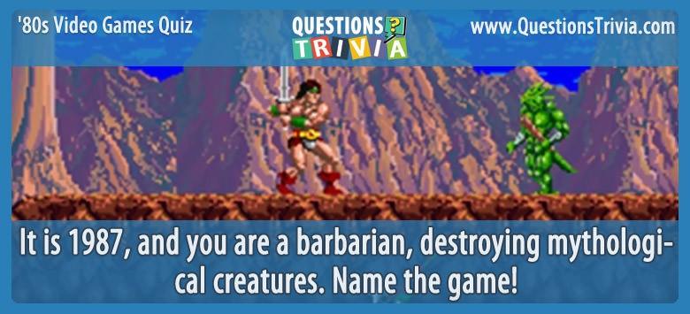 80s Video Games Quiz Rastan
