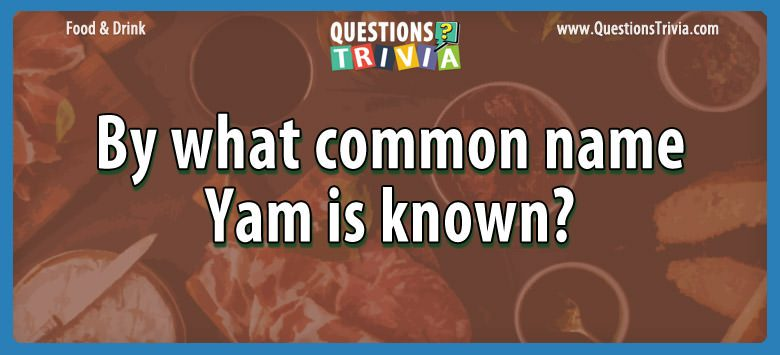 Food Drink Questions common yam known