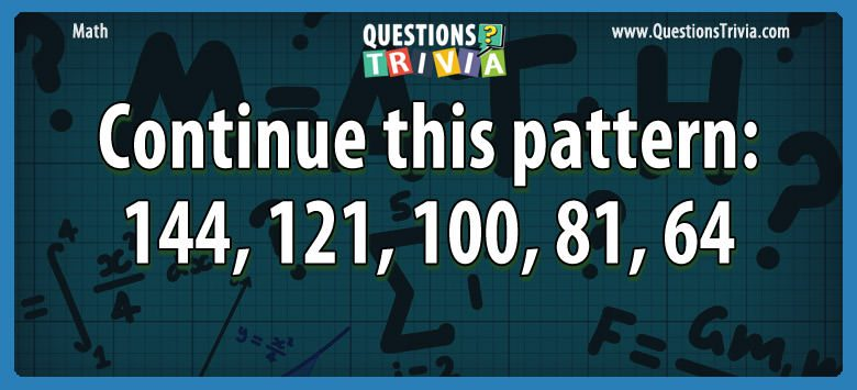 Math Trivia continue pattern1441211008164