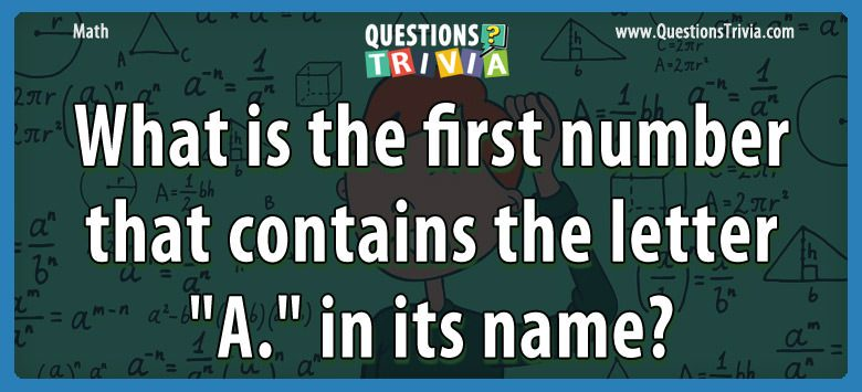 Math Trivia number letter a name