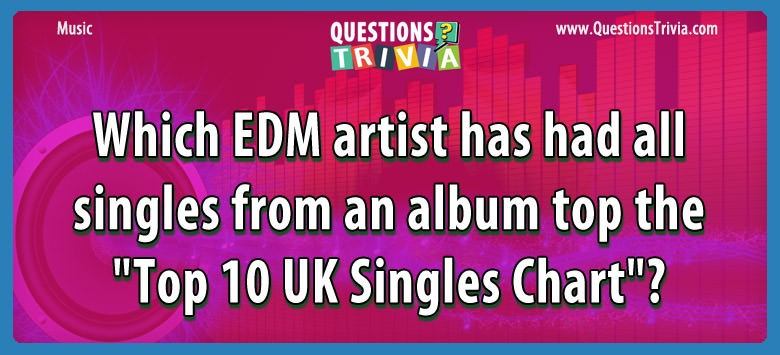 "Music Trivia Which EDM artist has had all singles from an album top the ""Top 10 UK Singles Chart""?"