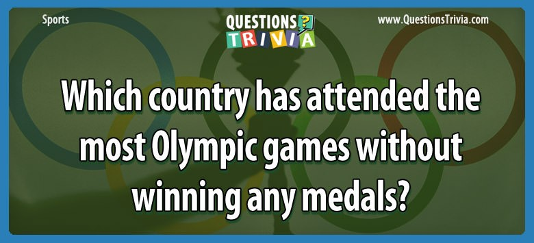 Which Country Has Attended The Most Olympic Games Without Winning Any Medals?