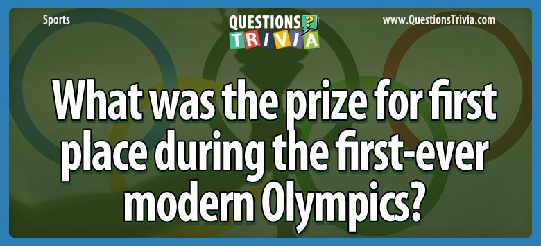 What Was The Prize For First Place During The First-ever Modern Olympics?